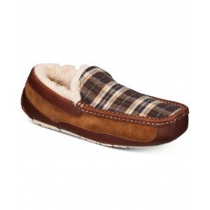 Mens Ascot Plaid Holiday Slippers