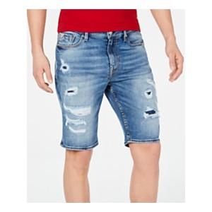 Mens Slim-Fit Stretch Destroyed Denim Shorts