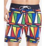 Mens Hunter TH Flex Stretch Sailboat-Print 6-1/2 Board Shorts