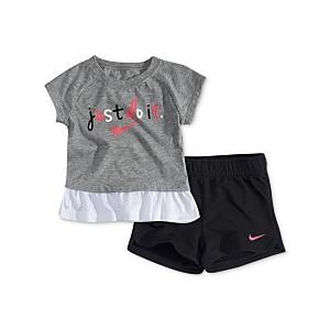 Baby Girls 2-Pc. Logo-Print Peplum Top & Shorts Set