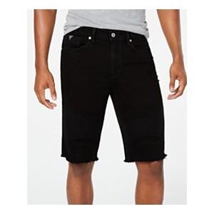 Mens Slim-Fit Stretch Cutoff Denim Moto Shorts