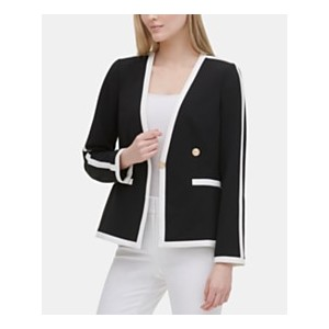 Contrast-Trim One-Button Jacket