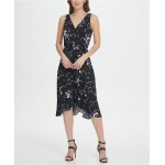 Jersery Floral Double-V Wrap Midi Dress
