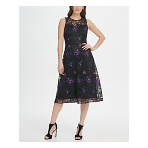 Embroidered Floral Lace Midi Dress