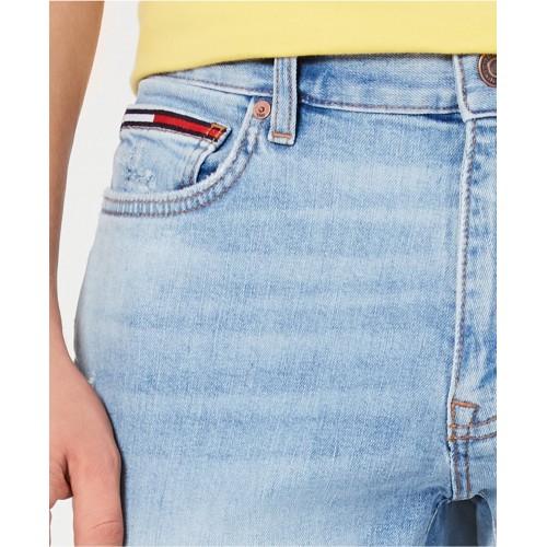타미힐피거 Mens Marley Slim Tapered Fit Stretch Distressed Jeans