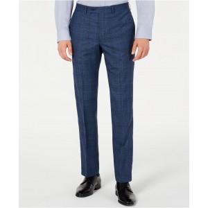 Mens Modern-Fit Stretch Blue Plaid Suit Pants