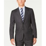 Mens Modern-Fit Stretch Charcoal/Navy Windowpane Suit Separate Jacket