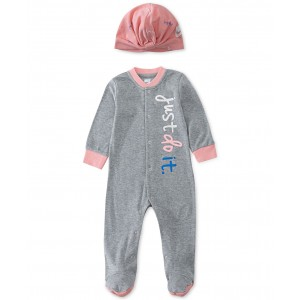 2-Pc. Baby Girls Logo Snap Coveralls & Twist-Front Hat Set