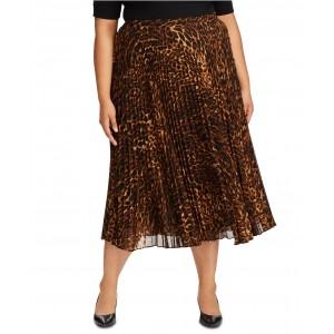 Plus Size Animal-Print Pleated Georgette Skirt