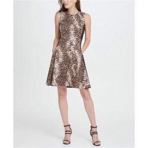 Scuba Colorblock Animal Print Fit Flare Dress