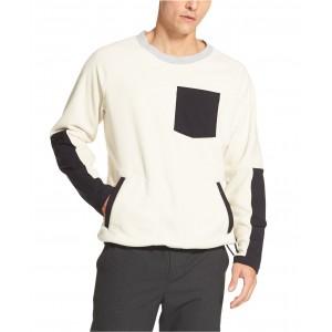 Mens Mix-Media Colorblocked Fleece Sweater