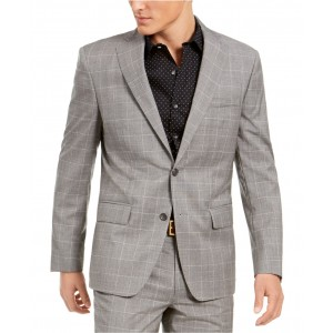Mens Slim-Fit Stretch Light Gray Plaid Suit Jacket