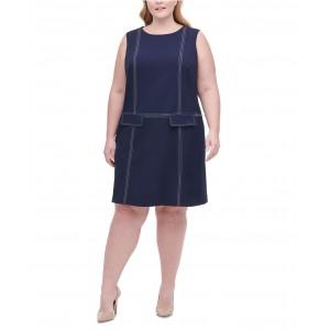 Plus Size Top-Stitch Scuba Crepe Dress