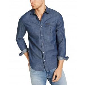Calvin Klein Mens Long Sleeve Chambray Omega Shirt