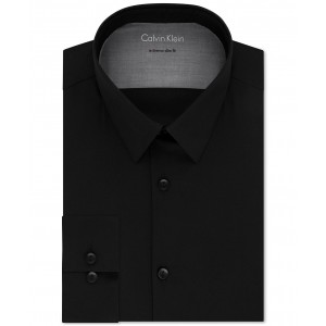 X Mens Extra-Slim Fit Thermal Stretch Performance Solid Dress Shirt