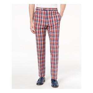 Mens Classic-Fit Red Plaid Madras Dress Pants