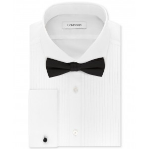 X Mens Extra-Slim Fit Pleated Formal White French Cuff Tuxedo Dress Shirt & Pre-Tied Solid Bow Tie Set