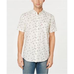 Mens Slim-Fit Tropical Drawings Shirt