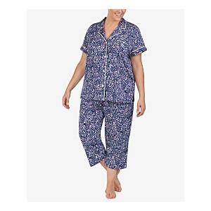 Plus-Size Printed Jersey Knit Notch Collar Top and Capri Pajama Pants Set