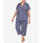 Plus-Size Printed Jersey Knit Notch Collar Top and Capri Pajama Pants Set