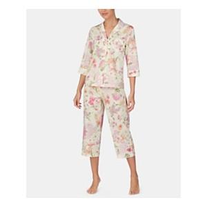 Woven Cotton Notch Collar Top and Capri Pajama Pants Set