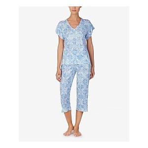 Flutter-Sleeve Top and Capri Pants Cotton Knit Pajama Set