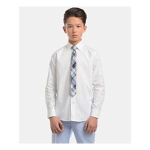Big Boys Stretch Diamond Geo-Print Shirt & Plaid Necktie Set