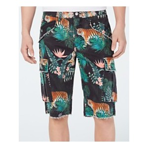 Mens Carter Stretch Wild Jungle-Print Twill Cargo Shorts