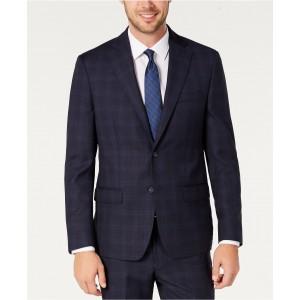 Mens Modern-Fit Stretch Navy/Light Blue Windowpane Suit Separate Jacket
