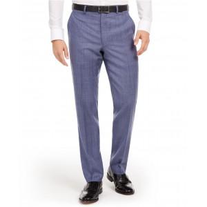 Mens Classic-Fit UltraFlex Stretch Light Blue Check Suit Separate Pants