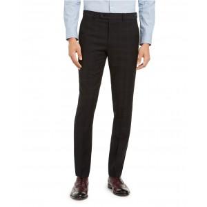 Mens Skinny-Fit Infinite Stretch Black Plaid Suit Separate Pants