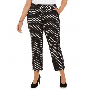 Plus Size Mod Dot Pull-On Trousers
