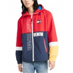 Mens Lewis Colorblocked Logo-Print Hooded Raincoat