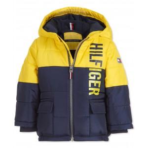 Baby Boys Jack Yellow Colorblocked Logo-Print Puffer Jacket