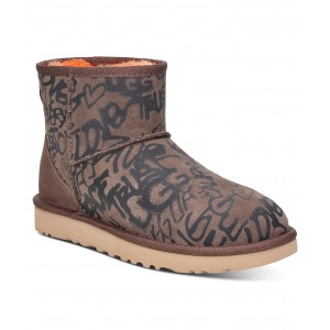 Womens Classic Street Graffiti Mini Boots