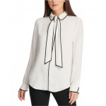 Petite Piped-Trim Button-Up Blouse