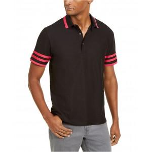 Mens Striped Trim Interlock Polo Shirt