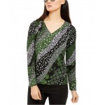 Petite Mixed Print Long-Sleeve Top