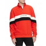Mens Colorblocked Stripe 1/4-Zip Fleece Sweatshirt