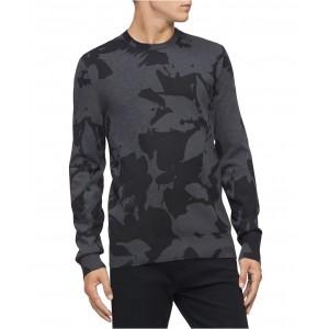 Mens Regular-Fit Textured Floral Jacquard Sweater