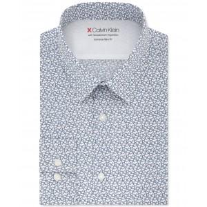 X Mens Extra-Slim Fit Temperature Regulating Stretch Blue Print Dress Shirt