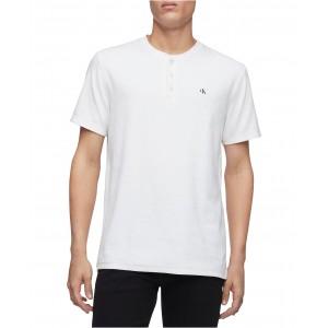 Calvin Klein Mens Short Sleeve Monogram Rib Henley