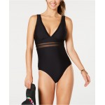 Solid Mesh One-Piece Swimsuit