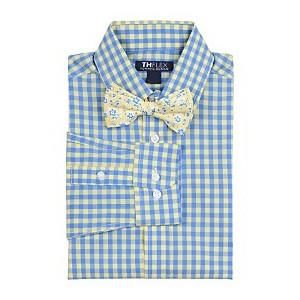 Big Boys Sailor Stretch Gingham Shirt & Floral Bow Tie
