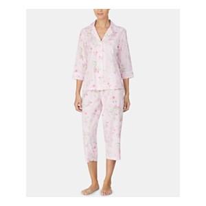 Printed Woven Notch Collar Top & Capri Pajama Pants Set