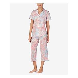 Notch Collar Top and Capri Pants Printed Pajama Set