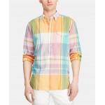 Mens Custom Fit Plaid Madras Shirt