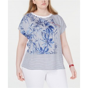 Plus Size Palm Striped Top, Created for Macys