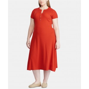 Plus Size Waffle-Knit Cotton Henley Dress