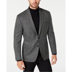 Mens Classic-Fit UltraFlex Stretch Gray/Brown Plaid Sport Coat